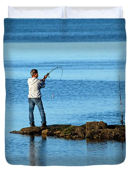 Early Morning Fishing Duvet Cover by Karol Livote