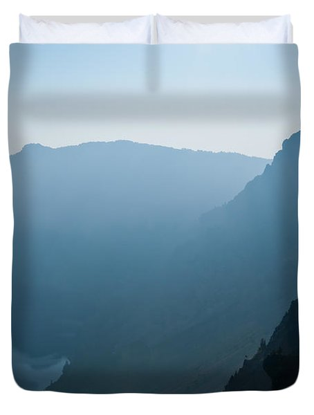 Early Morning Fog Over Crater Lake Duvet Cover by Jeff Goulden