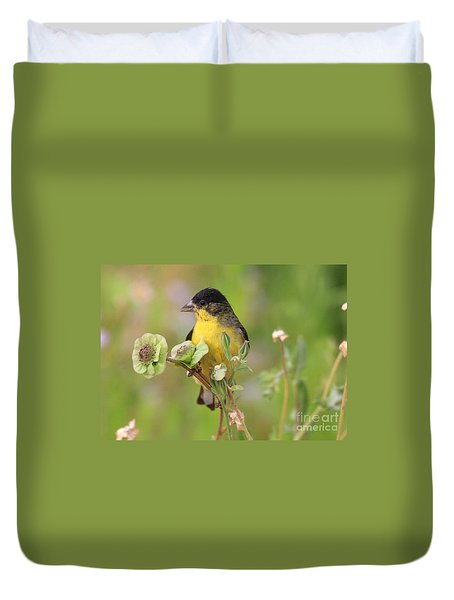 Duvet Cover featuring the photograph Early Morning Goldfinch by Ruth Jolly