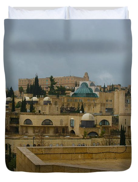 Duvet Cover featuring the photograph Early Morning In Jerusalem by Doc Braham