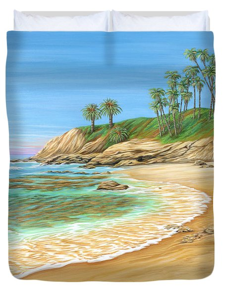Duvet Cover featuring the painting Early Morning Laguna by Jane Girardot