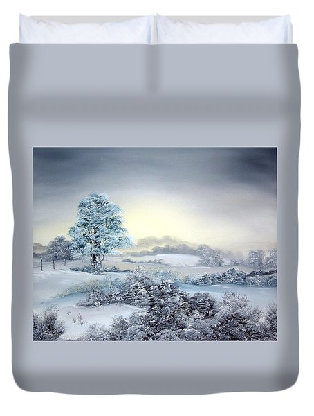 Early Morning Snows Duvet Cover