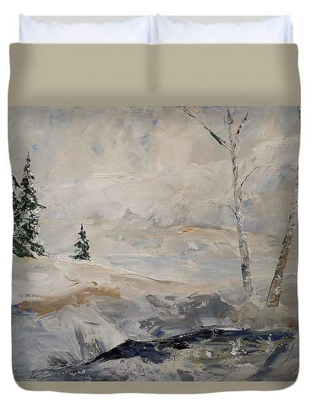 Duvet Cover featuring the painting Early Snow by Alan Lakin