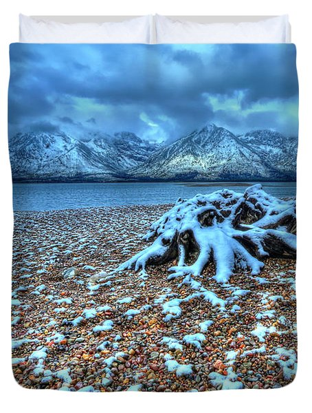 Early Snow On The Tetons Duvet Cover