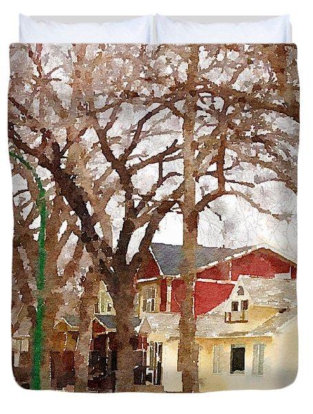 Early Spring Street Duvet Cover