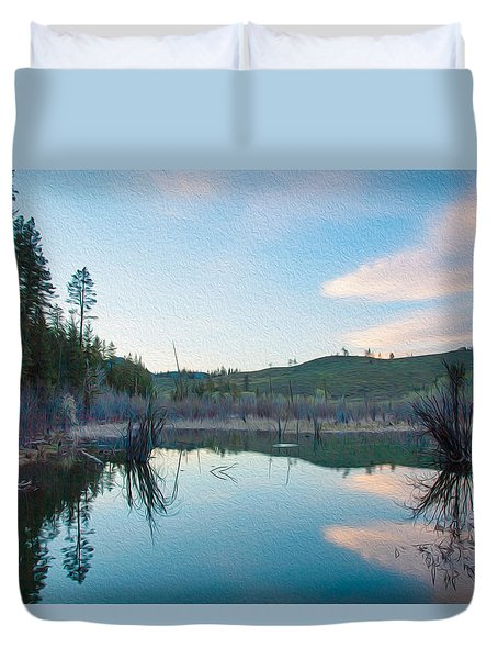 Early Sunset On A Beaver Pond  Duvet Cover by Omaste Witkowski