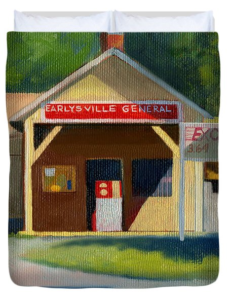 Earlysville Virginia Old Service Station Nostalgia Duvet Cover