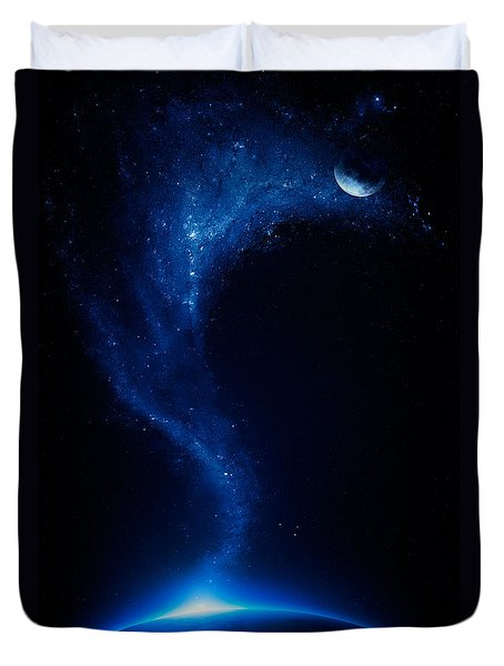 Earth And Moon Interconnected Duvet Cover