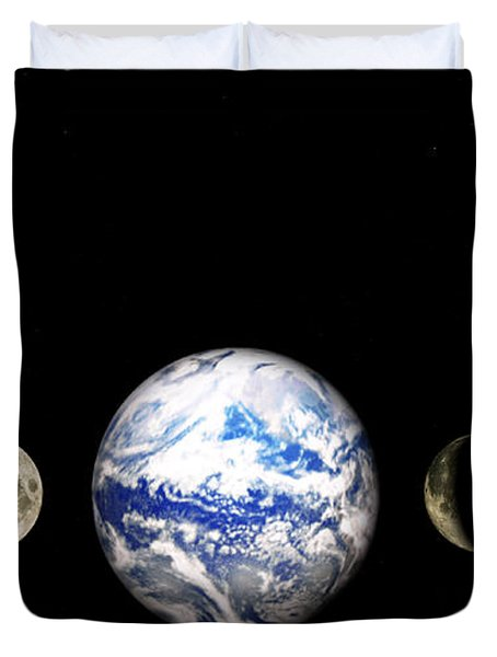 Earth And Phases Of The Moon Duvet Cover