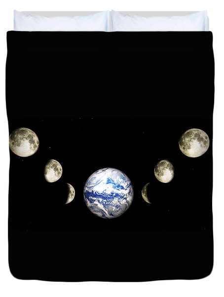 Earth And Phases Of The Moon Duvet Cover by Bob Orsillo