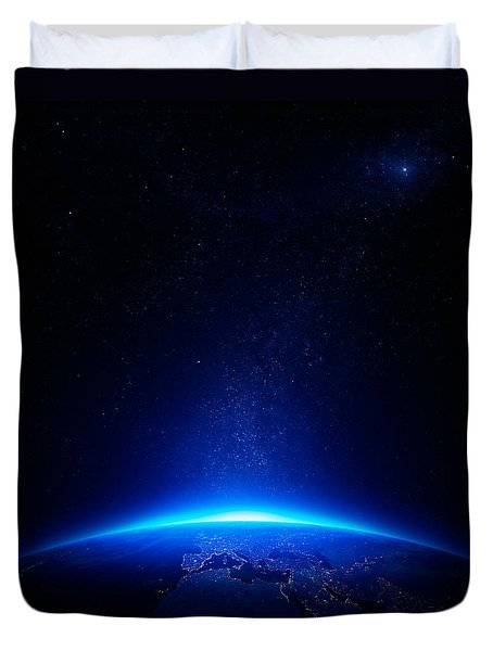 Earth At Night With City Lights Duvet Cover