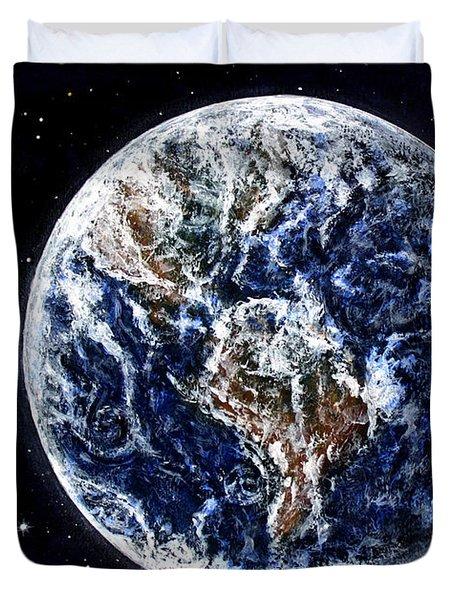 Earth Beauty Original Acrylic Painting Duvet Cover by Georgeta Blanaru