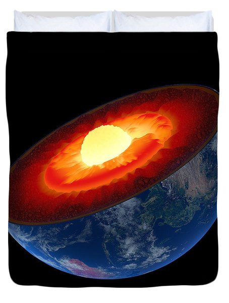 Earth Core Structure To Scale - Isolated Duvet Cover