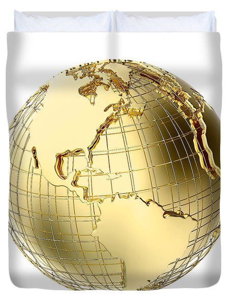 Earth In Gold Metal Isolated On White Duvet Cover