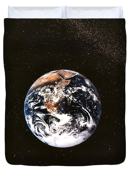 Earth Seen From Apollo 17 Africa And Antarctica Visible Duvet Cover by Anonymous