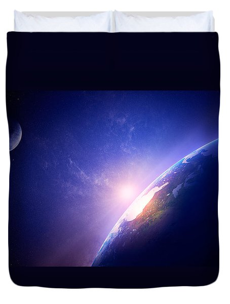 Earth Sunrise In Foggy Space Duvet Cover