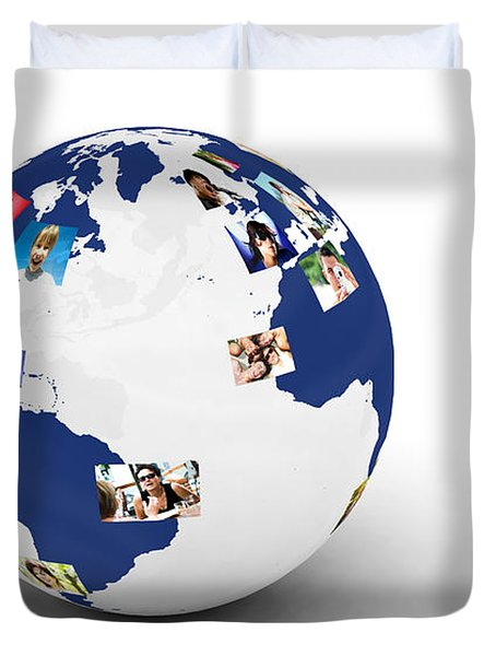 Earth With People Photos In Network Duvet Cover by Michal Bednarek