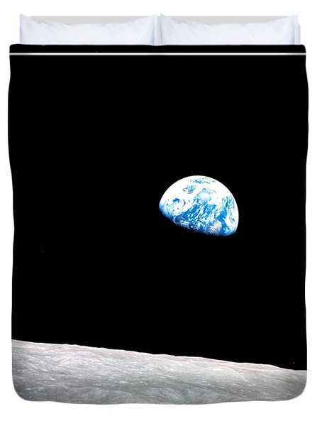 Duvet Cover featuring the photograph Earthrise Nasa by Rose Santuci-Sofranko