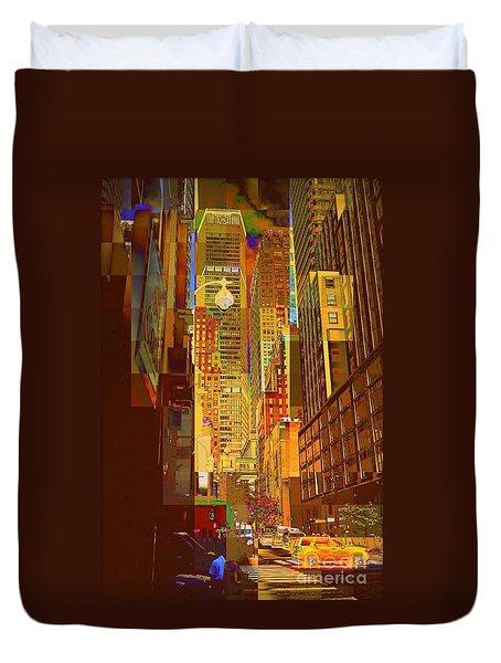 East 45th Street - New York City Duvet Cover by Miriam Danar