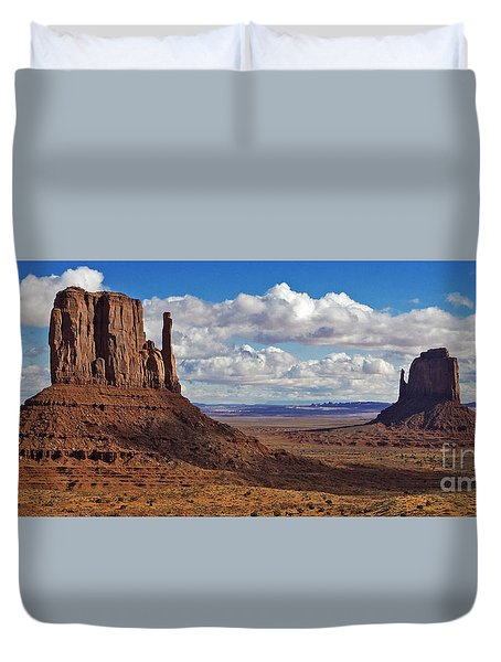 East And West Mittens Duvet Cover by Jerry Fornarotto
