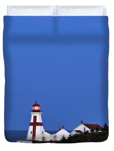 East Quoddy Lighthouse - D002160 Duvet Cover by Daniel Dempster