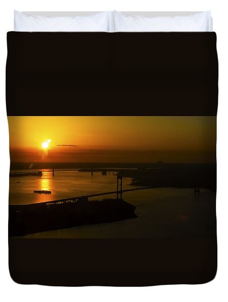 East River Sunrise Duvet Cover by Greg Reed