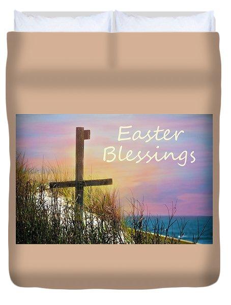 Easter Blessings Cross Duvet Cover by Sandi OReilly