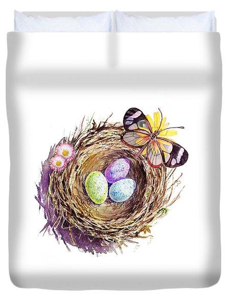 Easter Colors Bird Nest Duvet Cover