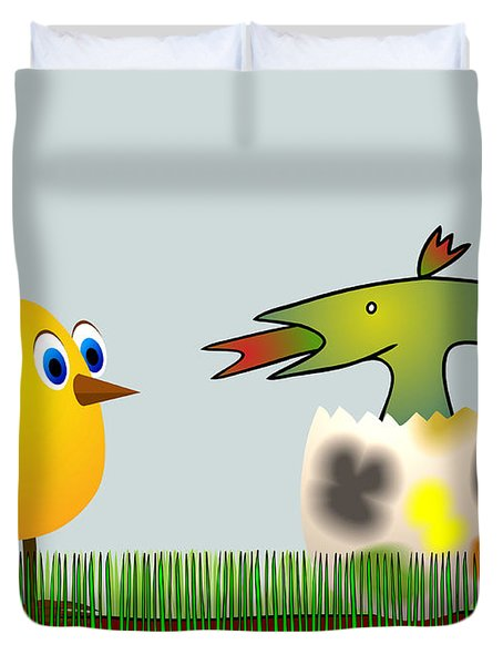 Easter Egg - Disagreeable Surprise Duvet Cover by Michal Boubin