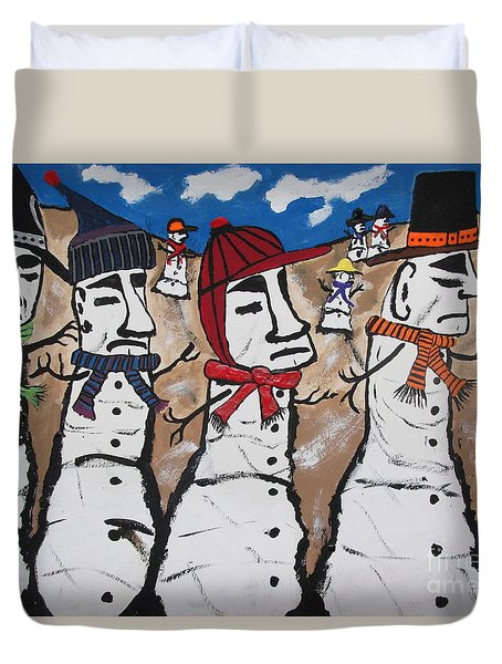 Easter Island Snow Men Duvet Cover by Jeffrey Koss