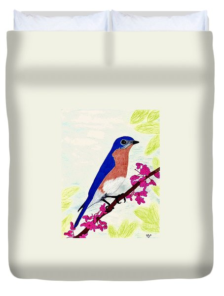 Duvet Cover featuring the drawing Florida - Eastern - Blue Bird by D Hackett
