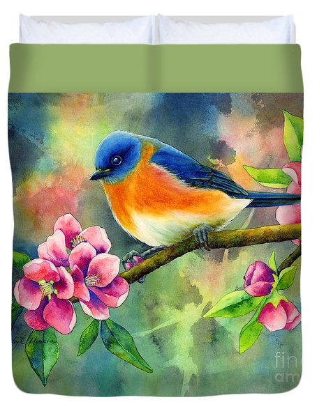 Duvet Cover featuring the painting Eastern Bluebird by Hailey E Herrera