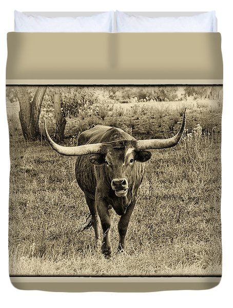 Eat Leaf Not Beef Sepia Duvet Cover