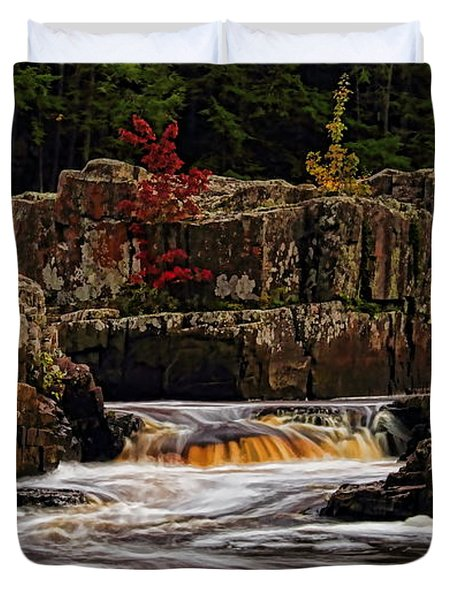 Waterfall Under Colored Leaves Duvet Cover