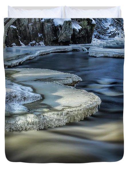 Eau Claire River Ice Duvet Cover
