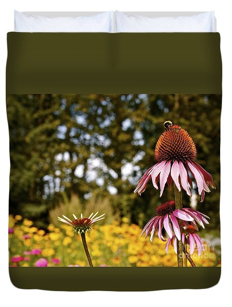 Echinacea With Bee Duvet Cover by Linda Bianic