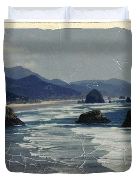 Ecola Sea Stacks Duvet Cover by Chalet Roome-Rigdon