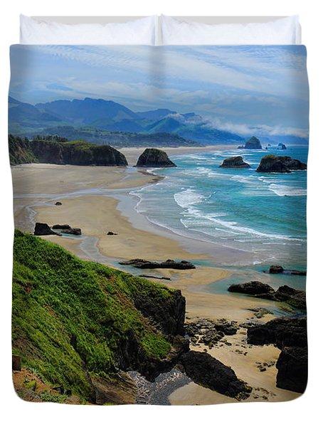 Ecola State Park Beach Duvet Cover