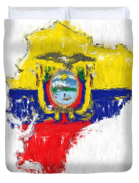 Ecuador Painted Flag Map Duvet Cover
