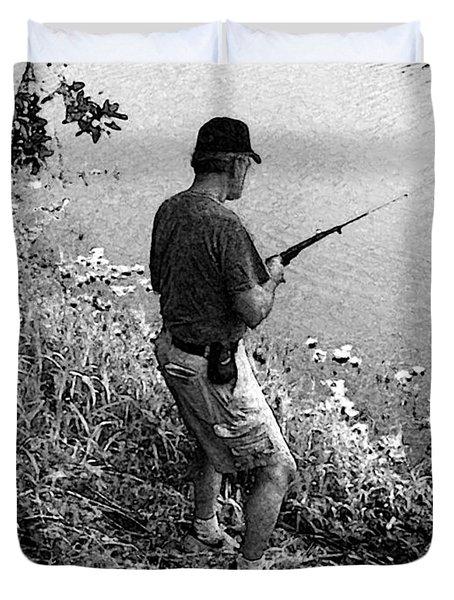 Ed Fishing Duvet Cover by Lenore Senior and Sharon Burger