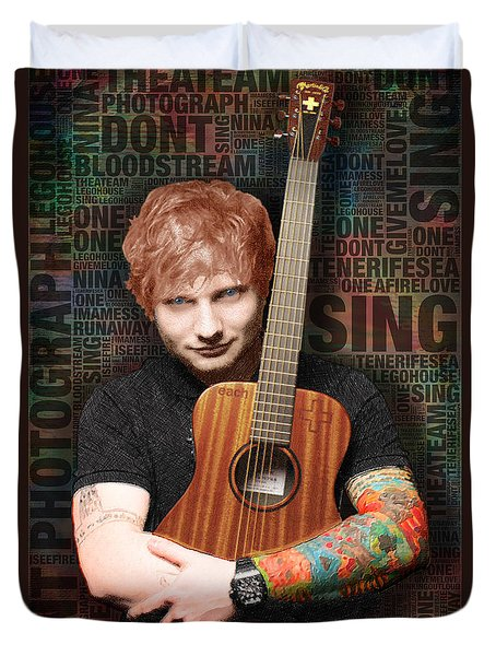 Ed Sheeran And Song Titles Duvet Cover