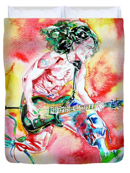 Eddie Van Halen Playing And Jumping Watercolor Portrait Duvet Cover
