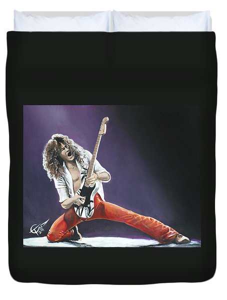 Eddie Van Halen Duvet Cover by Tom Carlton
