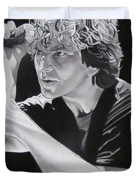 Eddie Vedder Black And White Duvet Cover
