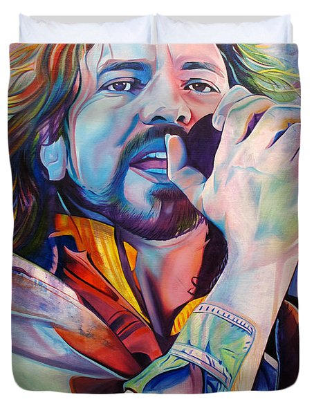 Eddie Vedder In Pink And Blue Duvet Cover