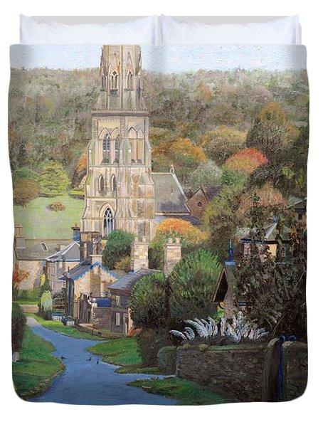 Edensor, Chatsworth Prak, Derbyshire, 2009 Oil On Canvas Duvet Cover
