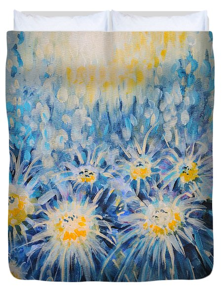 Duvet Cover featuring the painting Edentian Garden by Holly Carmichael