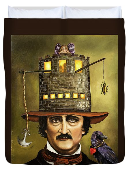 Edgar Allan Poe Duvet Cover by Leah Saulnier The Painting Maniac