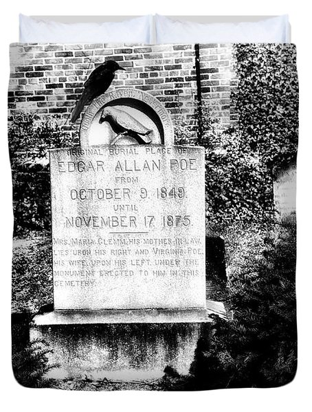 Edgar Allen Poe Grave Site Baltimore Duvet Cover by Bill Cannon