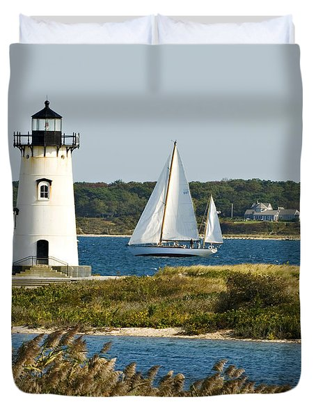 Edgartown Light At Martha's Vineyard Duvet Cover